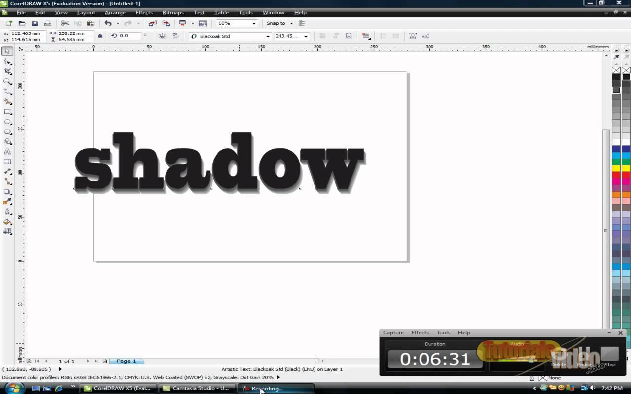 Aplica o umbra unui text in corel-draw