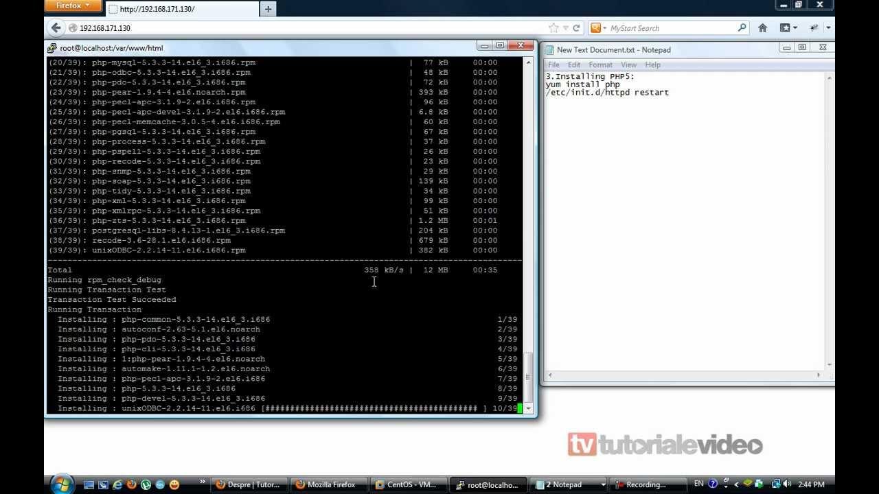 Cum se instaleaza php pe Centos 6.3