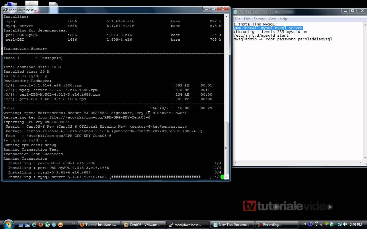 Cum se instaleaza serverul de mysql pe Centos