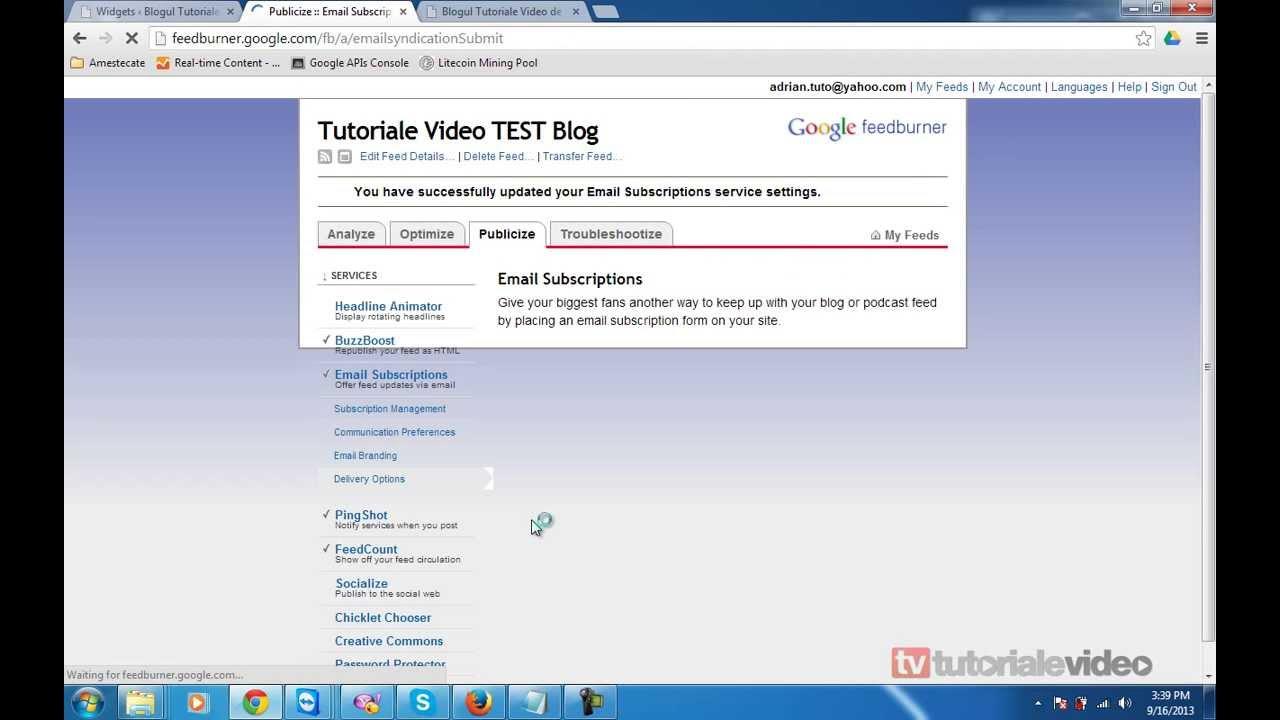 Cum setam un newsletter pe blogul nostru wordpress cu feedburner