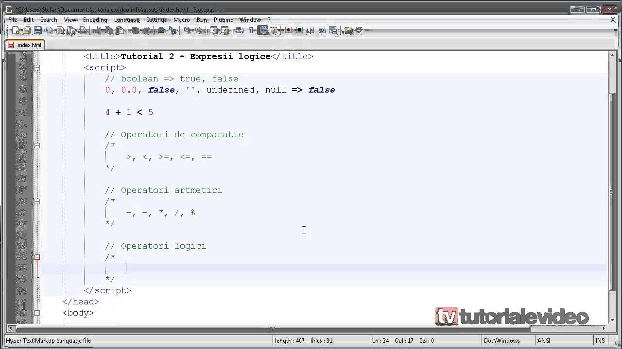 JavaScript – 2 – Expresii logice