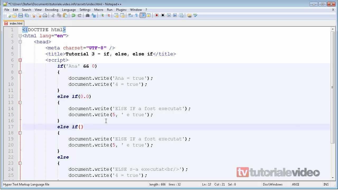 JavaScript – 3 – if, else, else if | Tutoriale Video