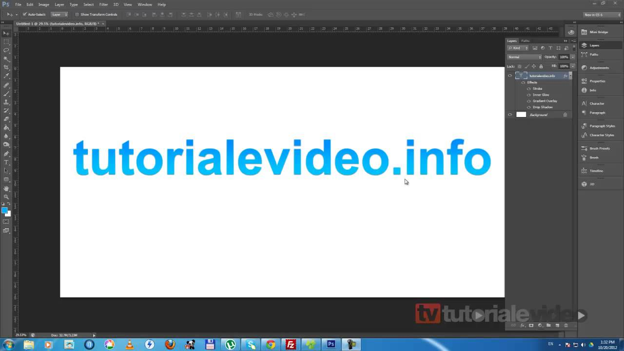 Tutoriale Video Photoshop CS 6 despre efectul glass text