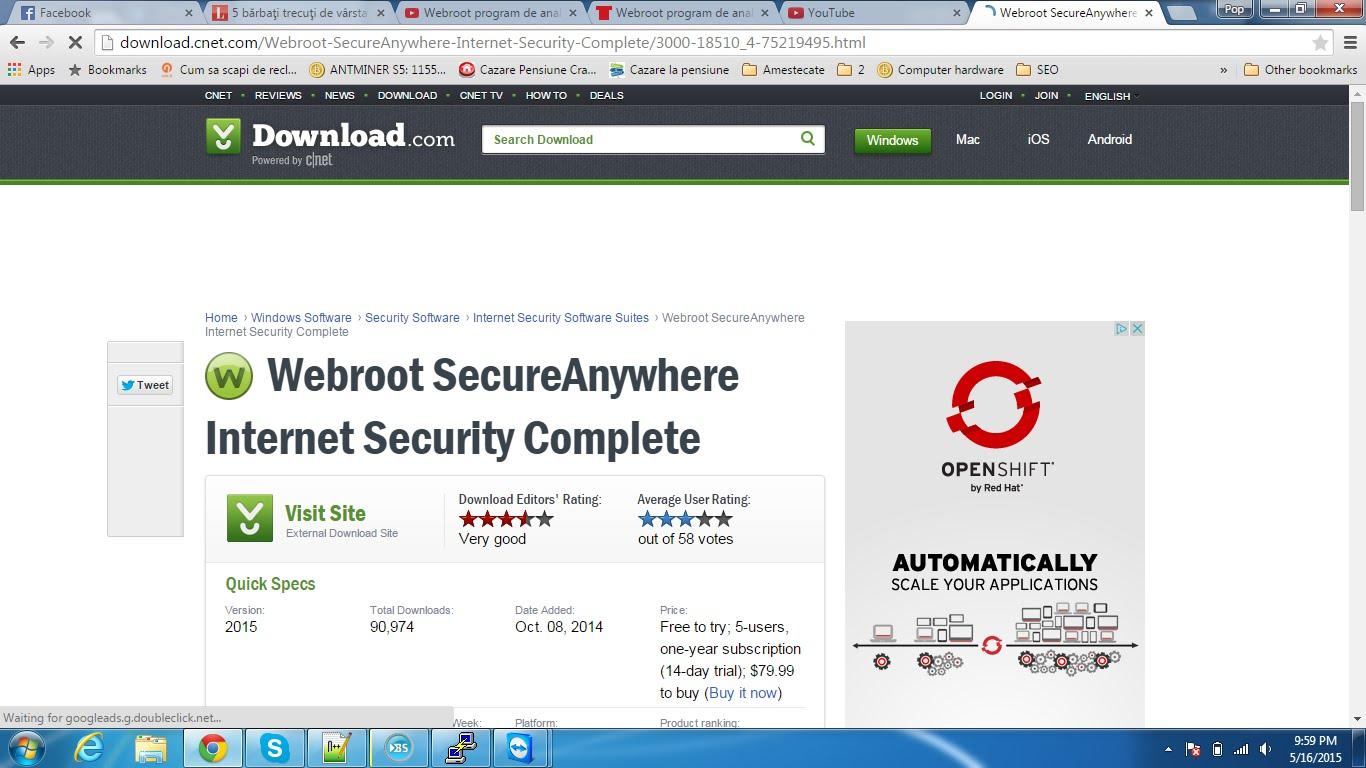Webroot program de analizat sistemul nostru de operare