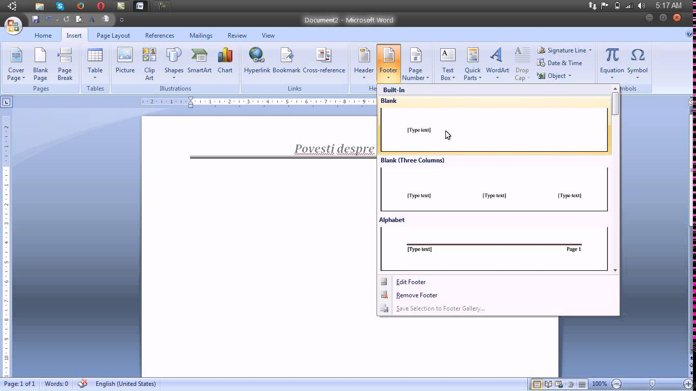 Insert Header Footer and Page Number – Microsoft Word 2007
