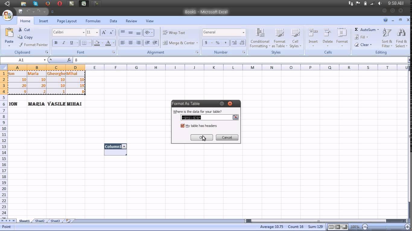 Utilizarea stilurilor de tabel – Microsoft Excel 2007