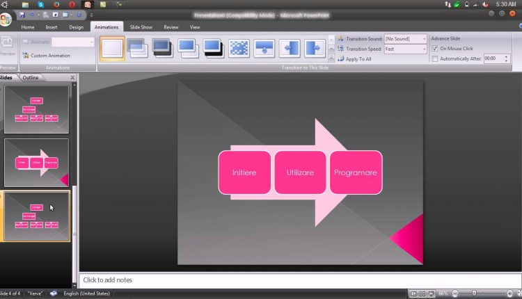Adaugarea efectelor de tranzitie intre slide-uri – Powerpoint