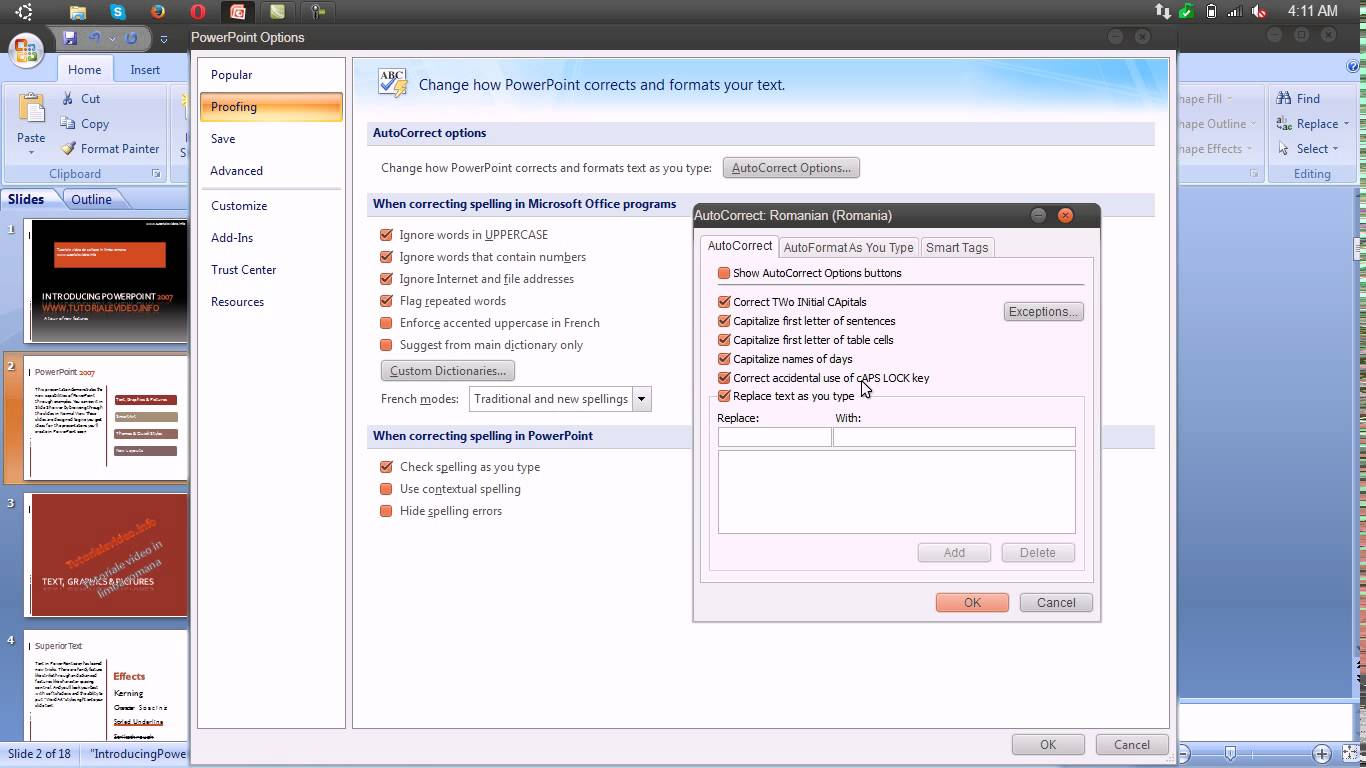 Corectarea automata a textului in Microsoft Powerpoint 2007