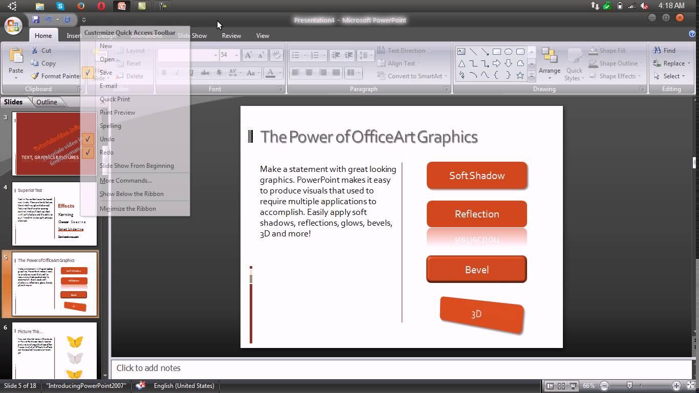 Customizarea toolbarului cu butoane in Microsoft Powerpoint 2007
