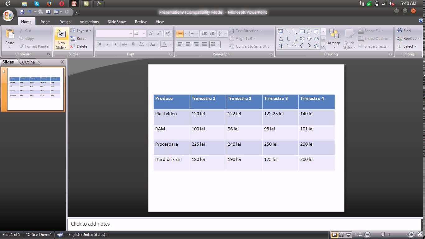 Inserarea unui tabel si formatarea acestuia – Powerpoint