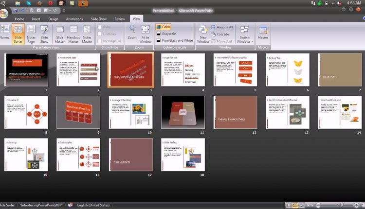 Modalitati de vizualizare si mutarea diapozitivelor in Microsoft Powerpoint