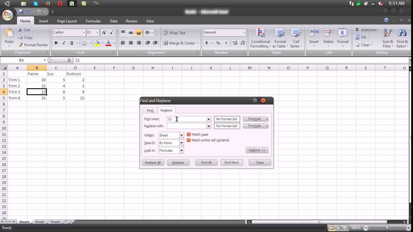 Cautarea si inlocuirea continutului unei celule – Excel 2007