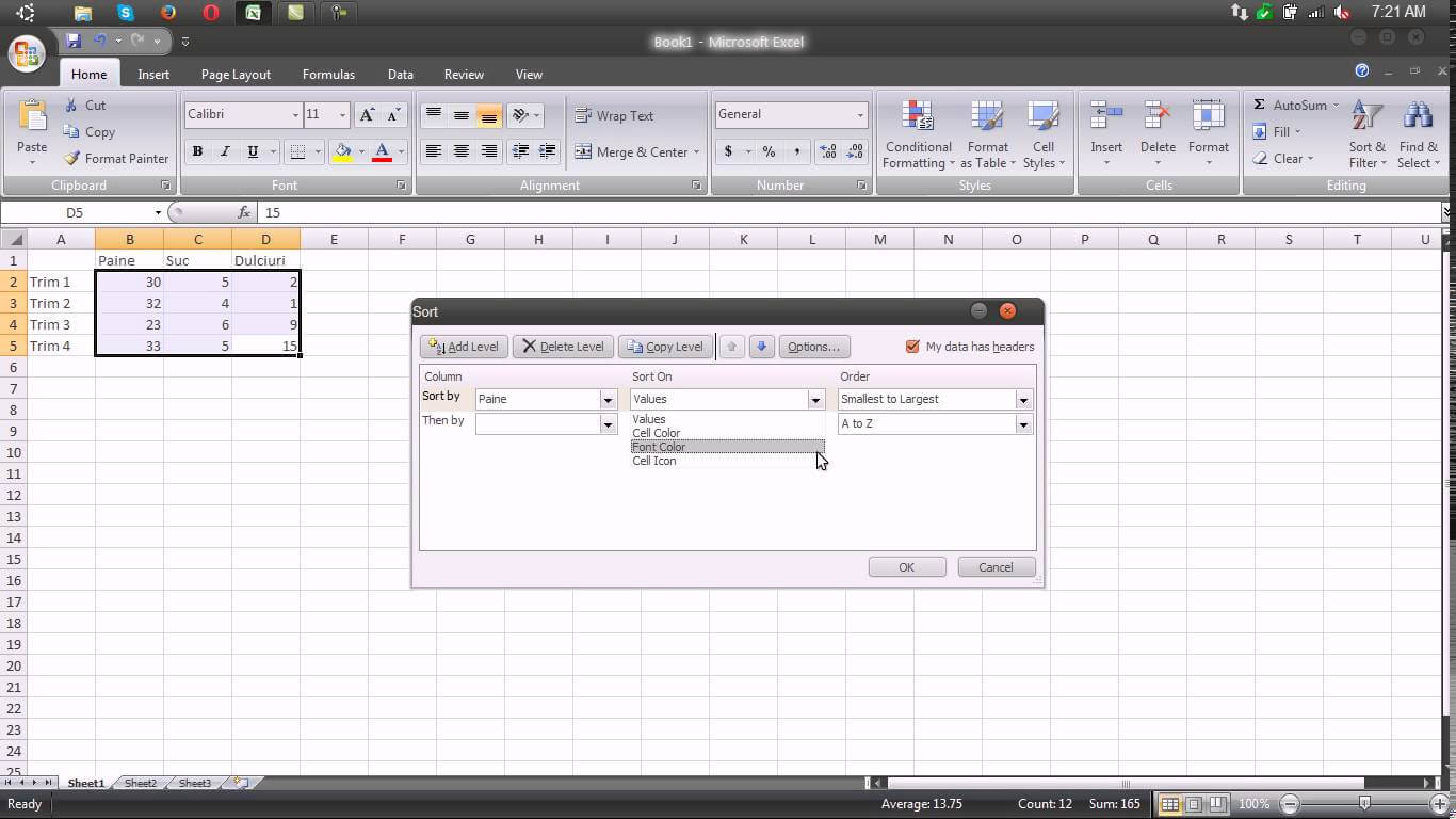 Sortarea datelor in tabel – Excel 2007