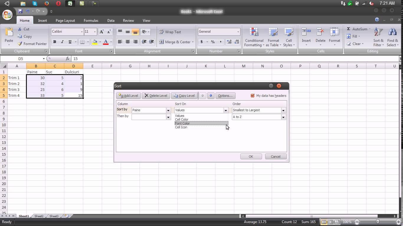 Sortarea datelor in tabel – Excel 2007