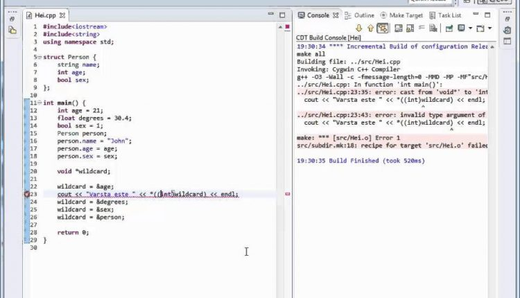 Tutoriale Video c++ despre void pointers nr. 28