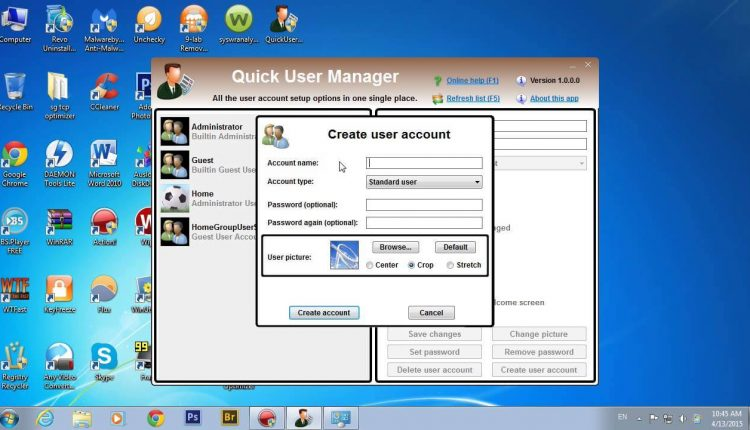Quick User Manager program pentru administrarea conturilor de utilizator