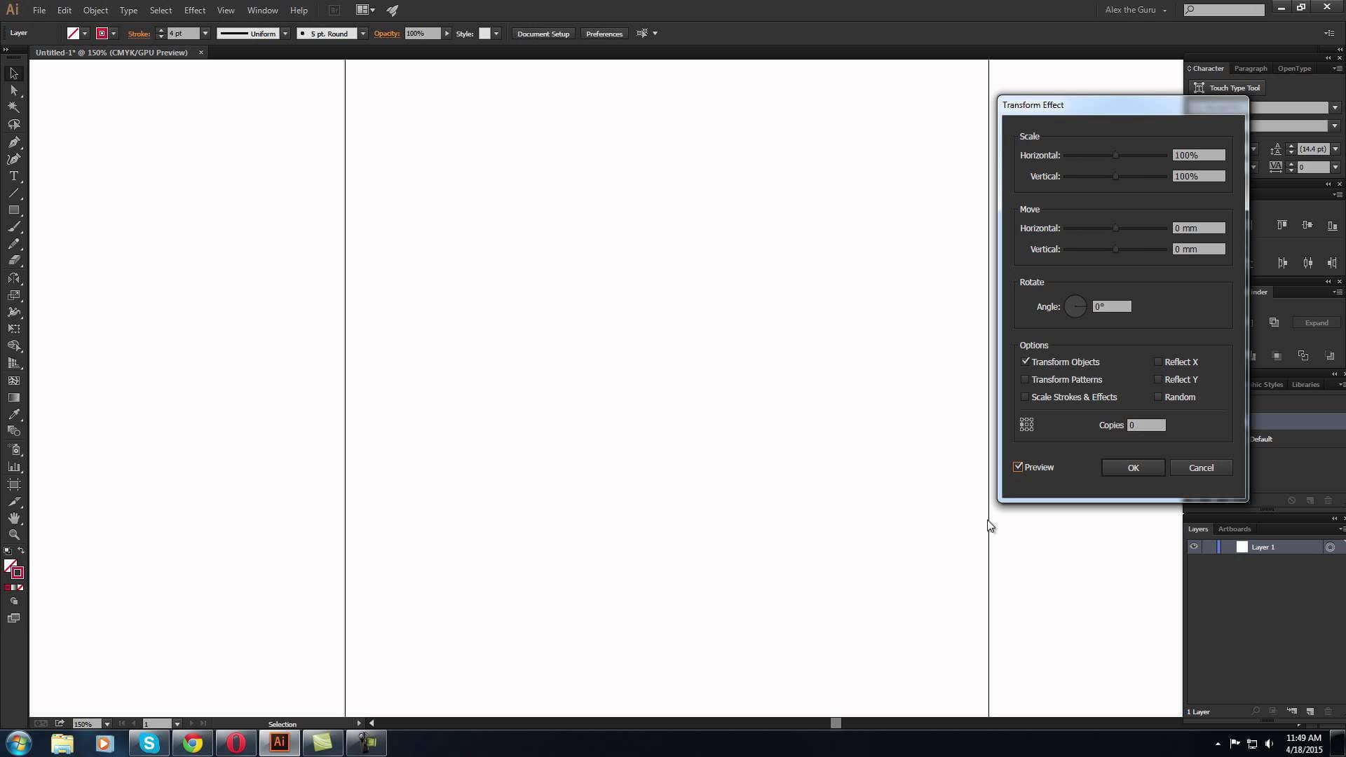 Cum facem un obiect asimentric in Adobe Illustrator