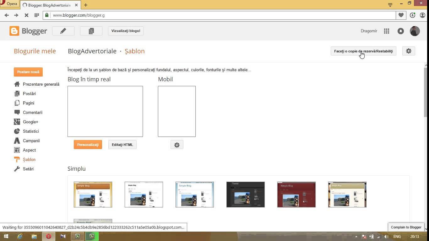 Descarca si instaleaza template-uri pentru Blogger