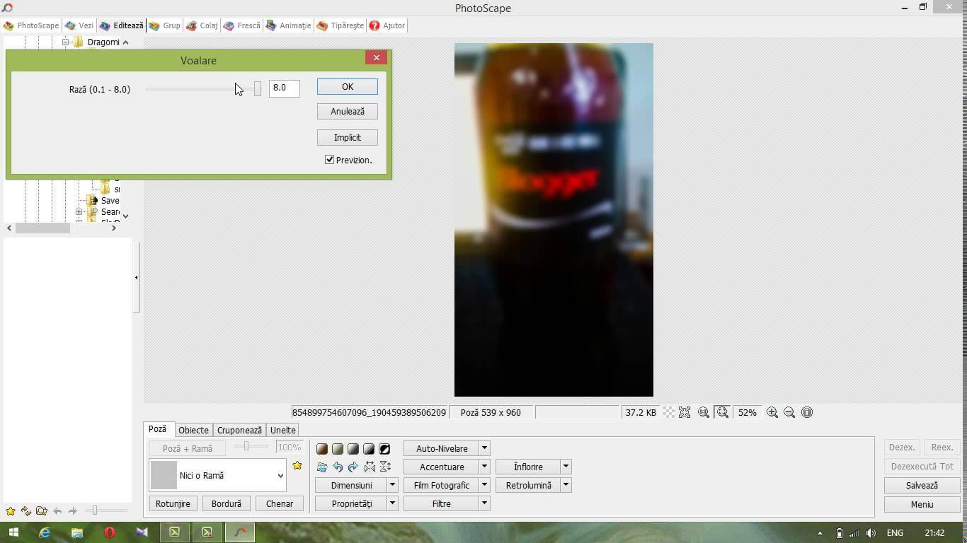 Efect de blur pe poza in Photoscape
