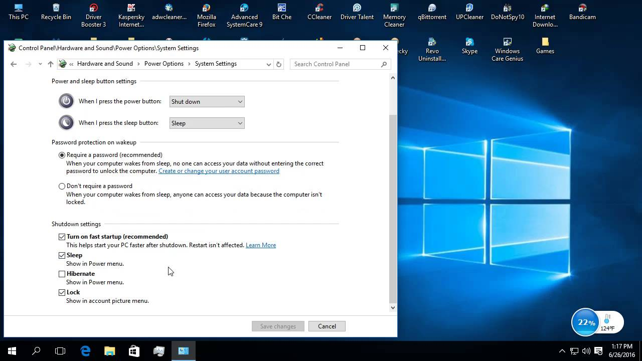 Activarea/dezactivarea  optiuniilor de hibernare,repaus si lock in sistemul de operare Windows 10