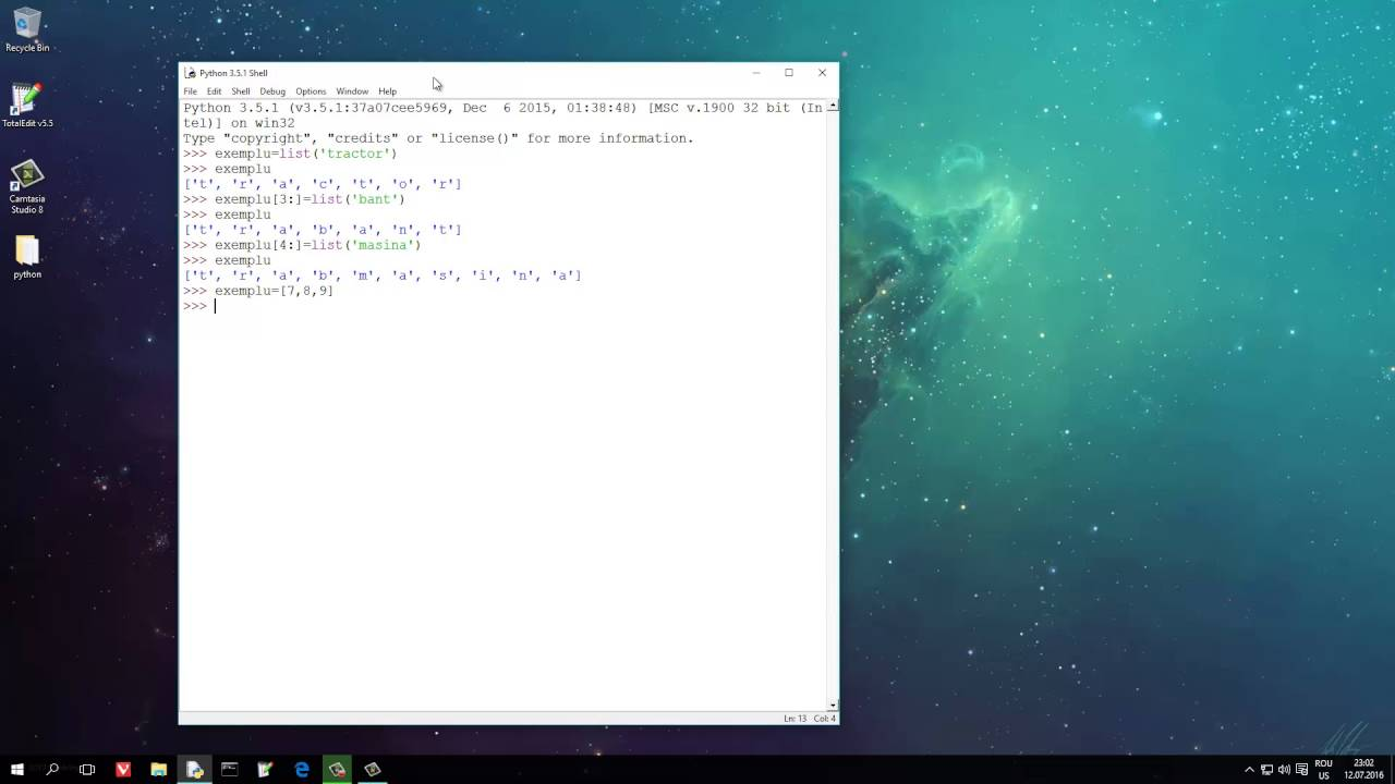 Tutoriale Video Python nr. 12 despre slicing list/impartirea listelor/felierea listelor