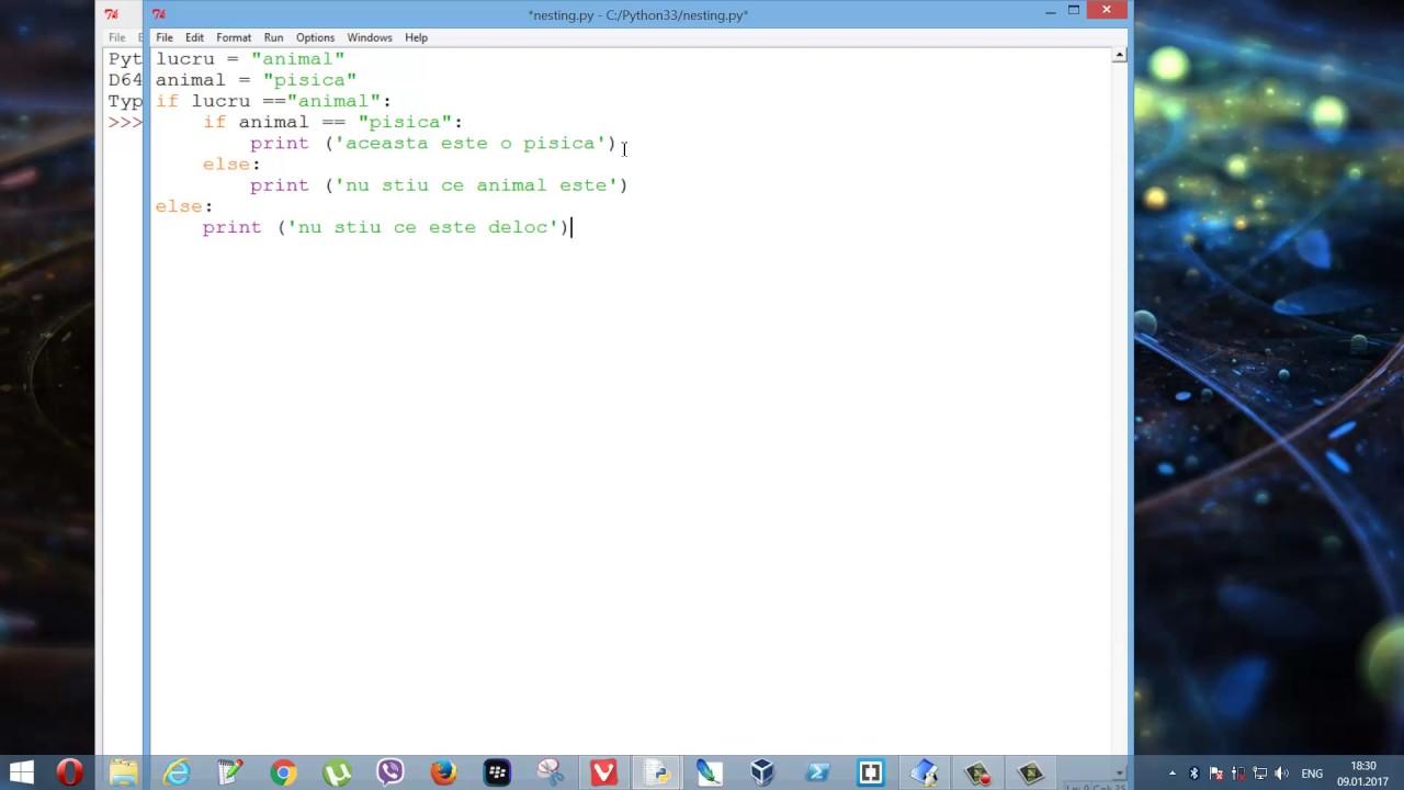 Tutoriale video Python nr. 22 despre structura decizională nesting statement 'if'