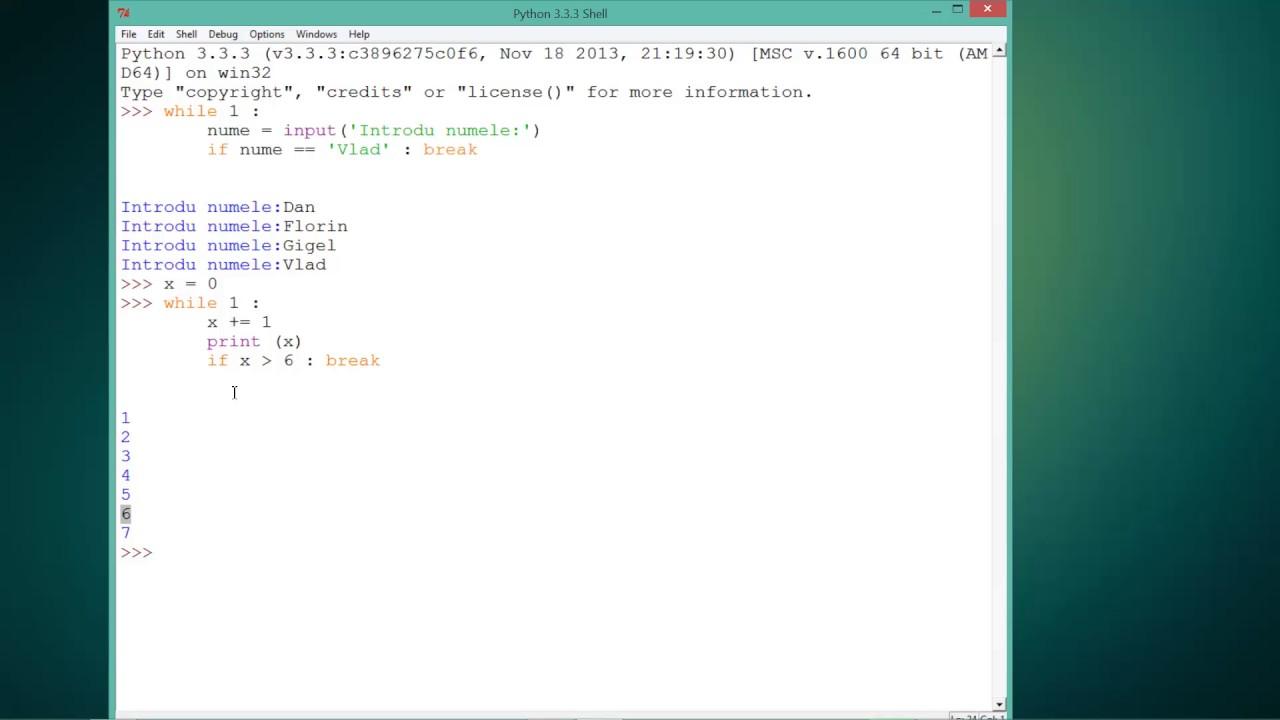 Tutoriale Video Python nr. 28 despre instructiunea 'break'