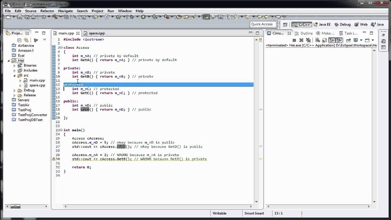 Tutoriale Video C++ nr. 34 despre functii de acces in cadrul unei clase si despre incapsulare