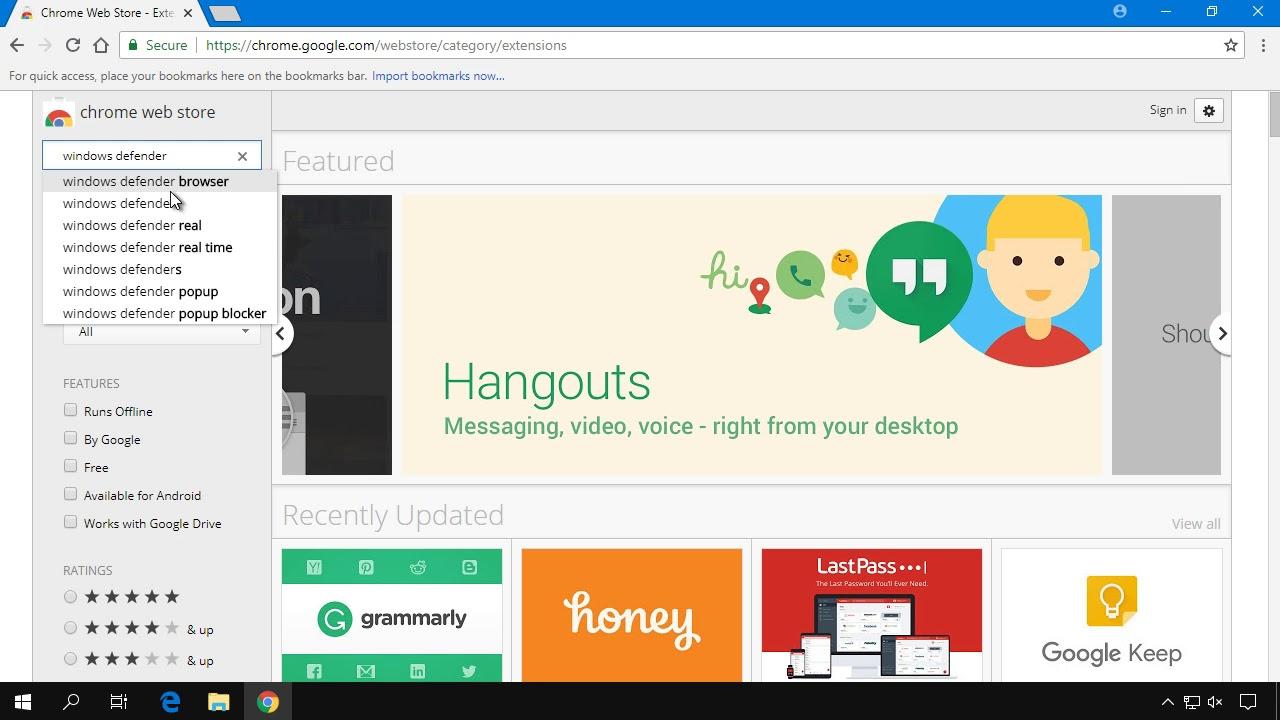 Instalare Windows Defender in Google Chrome