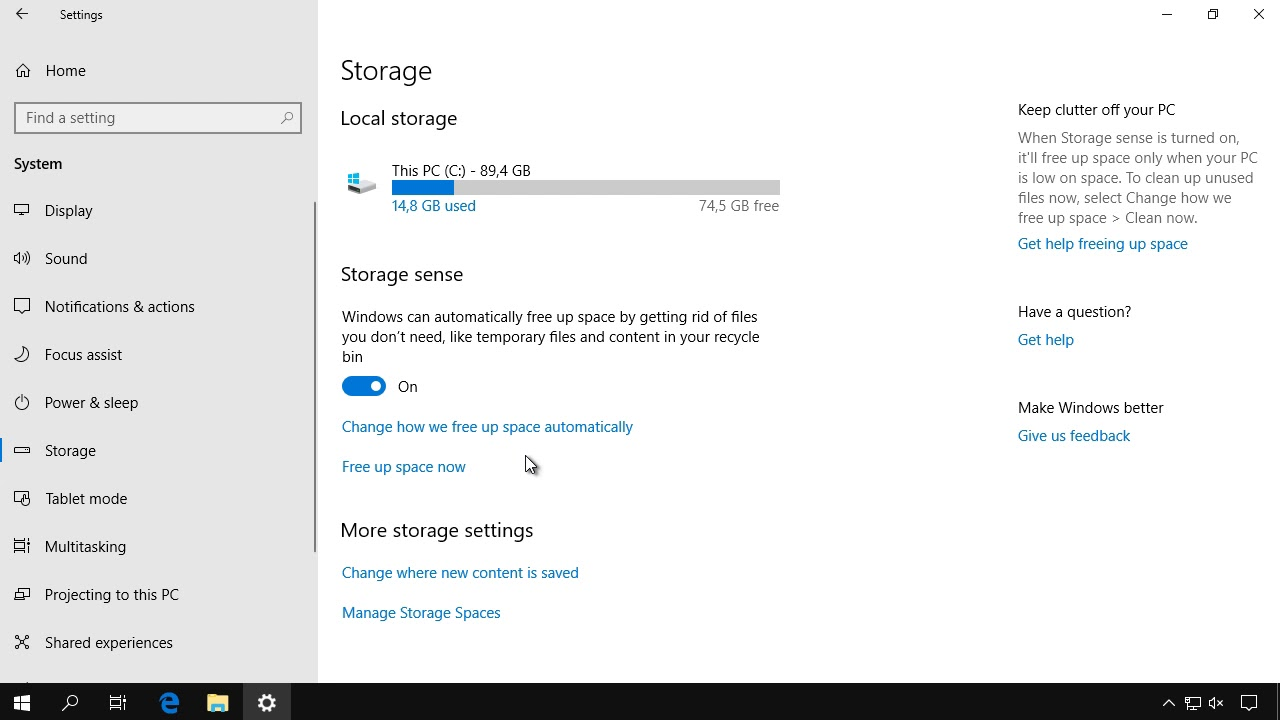 Obtine spatiu liber automat in Windows 10 cu Storage Sense