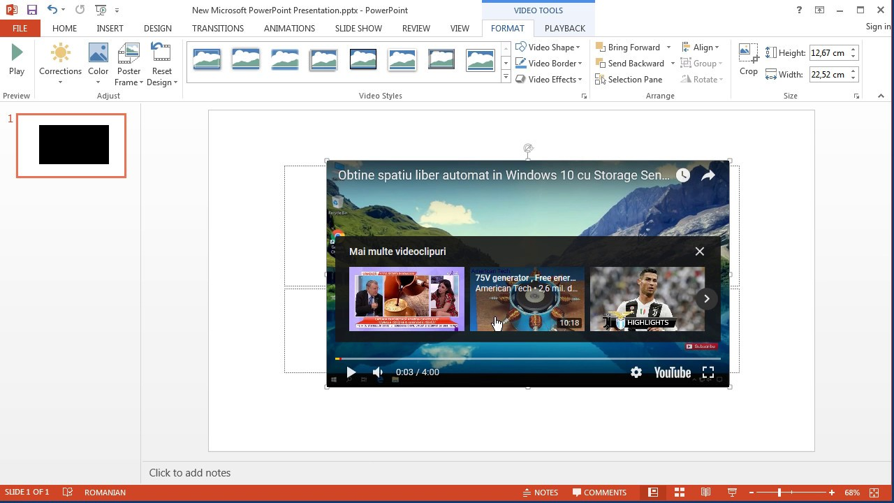 Inserare video de pe YouTube in document Word sau Power Point