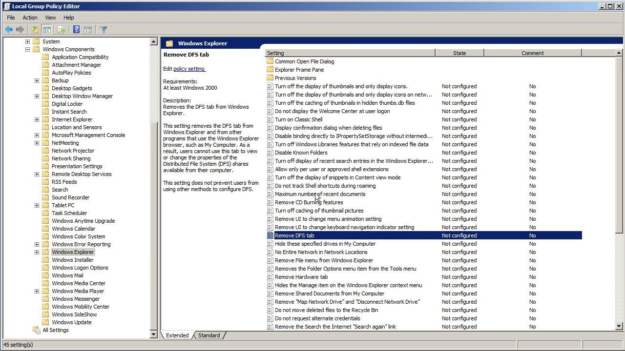 Dezactivare istoric cautari in Windows Explorer