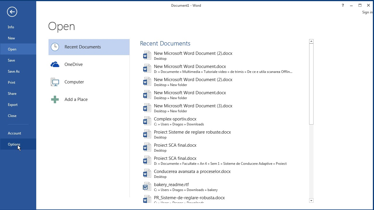 Dezactivare Start Screen in Microsoft Office