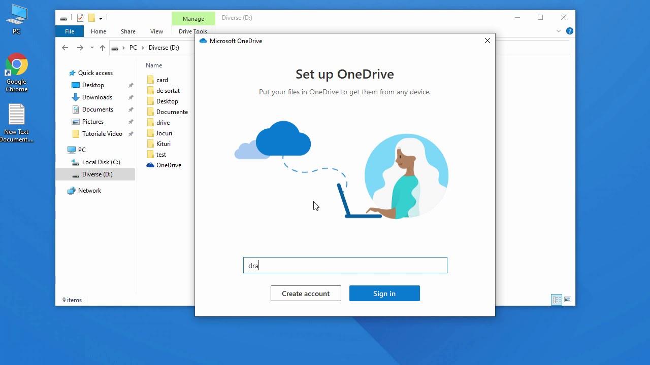 Cum schimbi locatia pentru OneDrive in Windows 10 ?